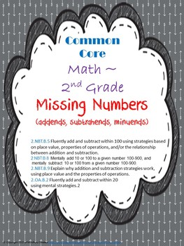 Missing Numbers Assessment Packet