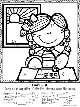 Missing Addends Back To School Color-By-Number