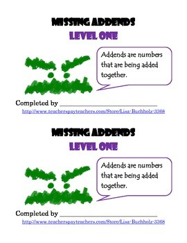 Missing Addends: Level One