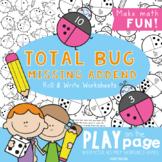 Missing Addends - Bug Total Addition Worksheet Games