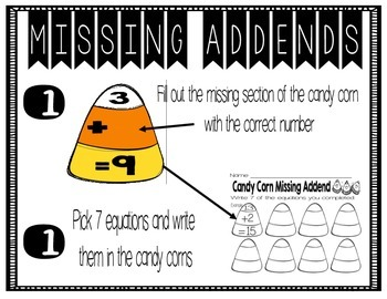 Missing Addends Candy Corn Center