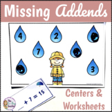Missing Addends Worksheets and Centers