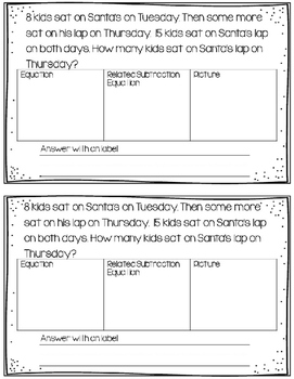 Missing Addends Christmas Word Problems Mini Book