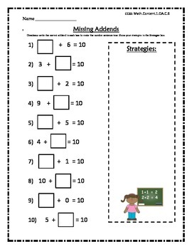 Missing Addends- Combinations to 10