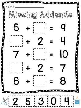 Missing Addends Worksheets Cut Sort Paste Activities