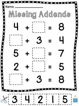 Missing Addends Worksheets Cut Sort Paste Activities by Miss Giraffe