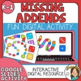 Missing Addends Digital Resource - K & 1st grade Google Sl