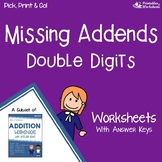 Missing Addends Double Digit Worksheets With Answer Keys