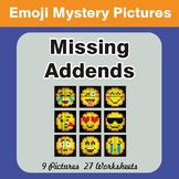 Missing Addends EMOJI Mystery Pictures
