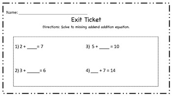 Missing Addends Exit Slips