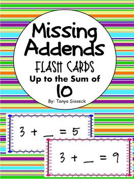 Missing Addends Flash Cards Up to the Sum of 10