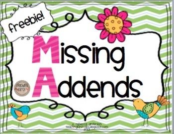 math worksheet : missing addends freebie!! by rebecca anderton  teachers pay teachers : Addends