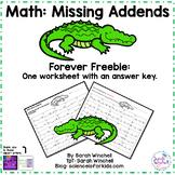 Free Math Worksheet Missing Addends