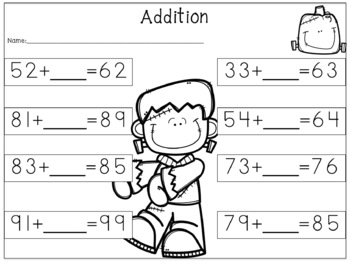 Missing Addends {Freebie} Monster/Fall Theme