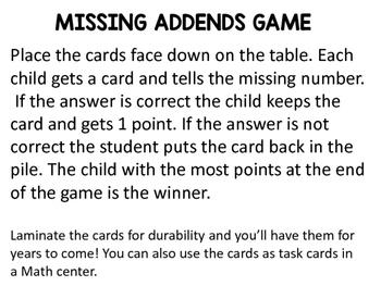 Missing Addends Easy Task Cards