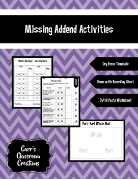 Missing Addends: Game, Recording Sheet, and Cut N Paste Worksheet
