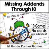 Missing Addends Part Part Whole One Page Games   Sums Through 10