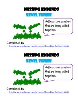 Missing Addends: Level Three