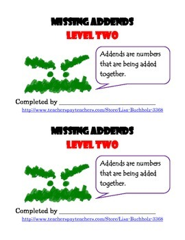 Missing Addends: Level Two