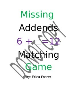 Missing Addends Matching Game