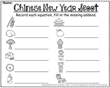 Missing Addends Math Center Chinese New Year Set
