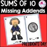 Missing Addends Math Center President's Day Theme February