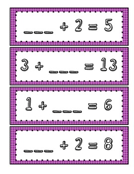 Missing Addends Math Centers