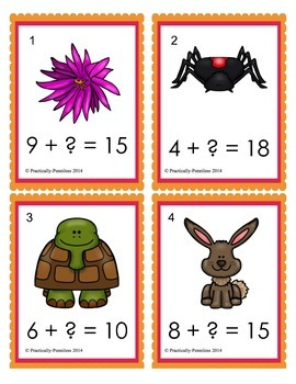 Missing Addends - Math Task Cards 1.OA.D.8