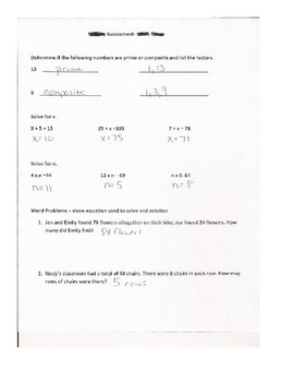 Math Test:Missing Addends and Factors Prime Composite with Word Problems