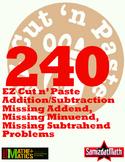 Missing Addends, Missing Subtrahends, Missing Minuends