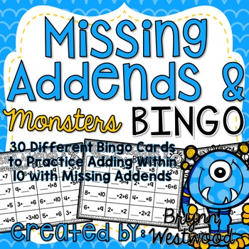 Missing Addends & Monsters Bingo-Adding Within 10