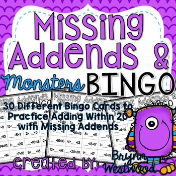 Missing Addends & Monsters Bingo-Adding Within 20