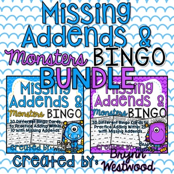 Missing Addends & Monsters Bingo BUNDLE-Adding Within 10 & 20