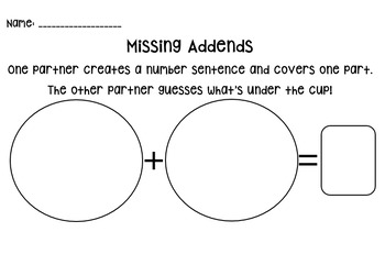 Missing Addends Partner Activity and Worksheet