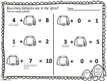 Missing Addends Penguins for Sums of 3 to 10 + Review (15 Worksheets)