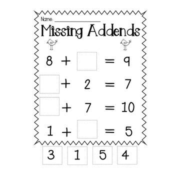 Missing Addends Practice Worksheets