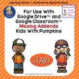 Missing Addends Kids with Pumpkins