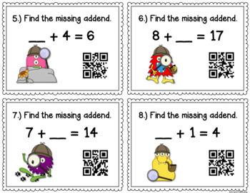 Missing Addends QR Code Task Cards