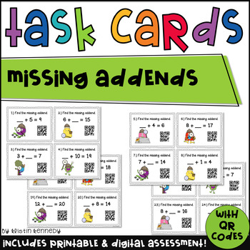 Missing Addends QR Code Task Cards