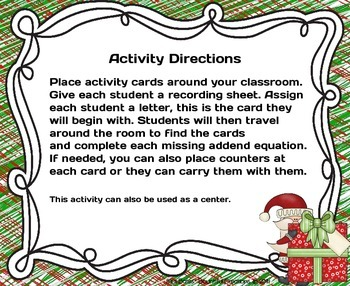"Missing Addends  ""Secret Santa's Missing Addends"" Activity"