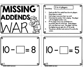 Missing Addends Subtraction Math Game