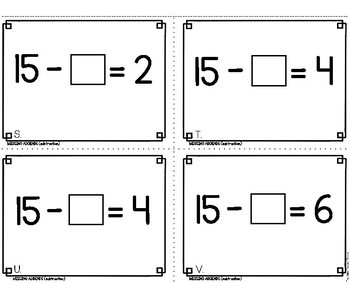 Missing Addends Subtraction