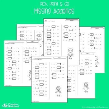 Missing Addends Subtraction, Missing Addends Addition Worksheets