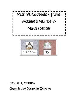 Missing Addends & Sums: Math Center
