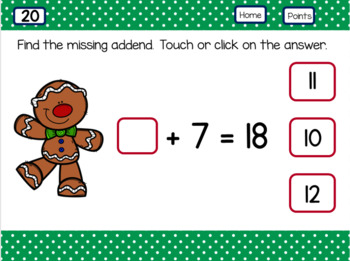 Missing Addends Sums Within 20 Gingerbread Man theme use with Google Slides™