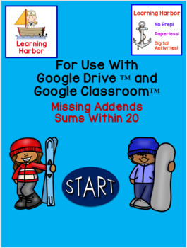 Missing Addends Sums Within 20 Snowboarding and Skiing use with Google Slides™