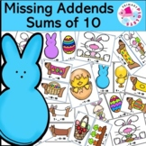Missing Addends Sums of 10 Math Center, Easter Themed