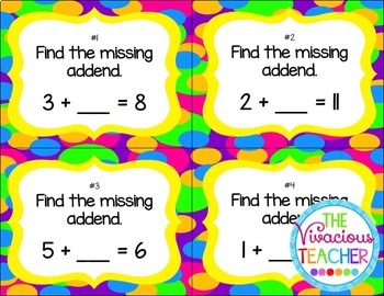 Missing Addends Task Cards/ Scoot Activity