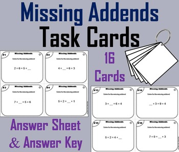 Solving for Missing Addends Task Cards: 1st 2nd 3rd Grade Addition Fact Fluency