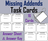 Finding the Missing Addends Task Cards: 1st 2nd 3rd Grade Addition Fact Fluency